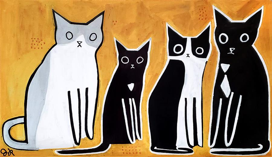Original art for sale at UGallery.com | Four Cats by Jessica JH Roller | $3,100 | acrylic painting | 28' h x 48' w | ..\art\acrylic-painting-Four-Cats