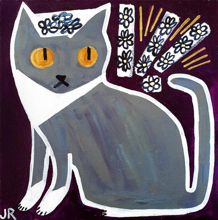 Original art for sale at UGallery.com | Gray Cat by Jessica JH Roller | $300 | acrylic painting | 12' h x 12' w | ..\art\acrylic-painting-Gray-Cat