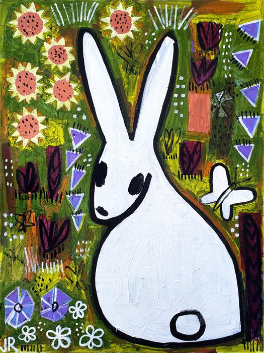 Original art for sale at UGallery.com | Bunny in the Prairie by Jessica JH Roller | $900 | acrylic painting | 24' h x 18' w | ..\art\acrylic-painting-Bunny-in-the-Prairie