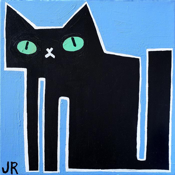 Original art for sale at UGallery.com | Black Cat on Blue by Jessica JH Roller | $300 | acrylic painting | 12' h x 12' w | ..\art\acrylic-painting-Black-Cat-on-Blue