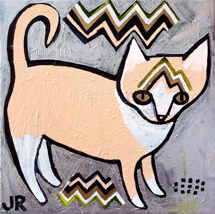 Original art for sale at UGallery.com | Kitten on Peach by Jessica JH Roller | $275 | acrylic painting | 10' h x 10' w | ..\art\acrylic-painting-Kitten-on-Peach