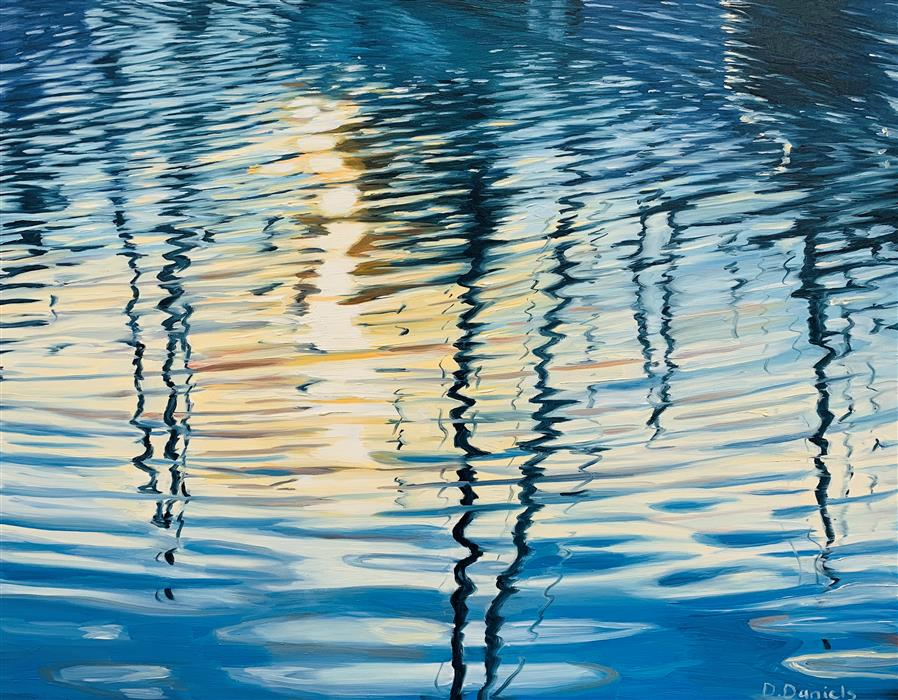 Original art for sale at UGallery.com | Harbor Reflections by Debbie Daniels | $700 | oil painting | 11' h x 14' w | ..\art\oil-painting-Harbor-Reflections