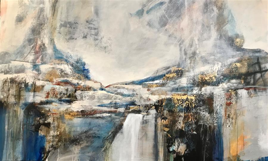 Original art for sale at UGallery.com | Bridge over Troubled Water by DL Watson | $3,700 | acrylic painting | 30' h x 48' w | ..\art\acrylic-painting-Bridge-over-Troubled-Water