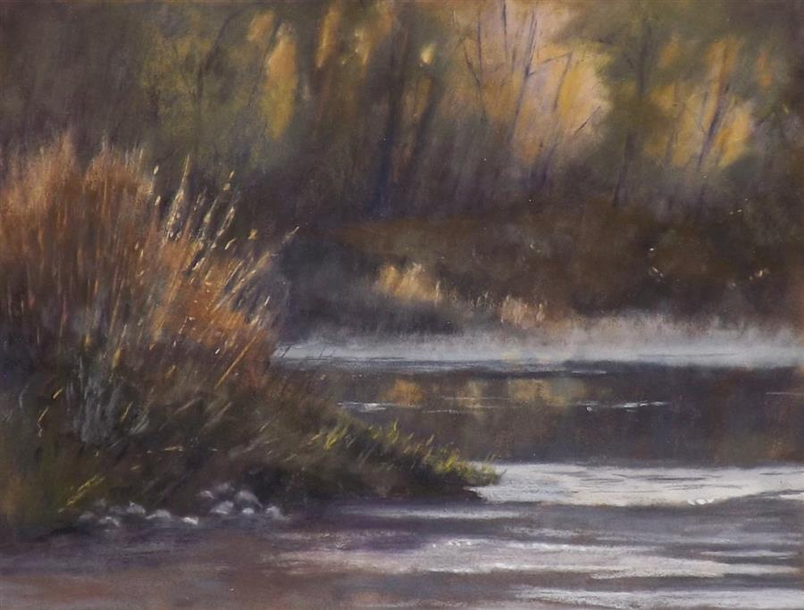 Original art for sale at UGallery.com | A Little Morning Mist by Patricia Prendergast | $375 | pastel artwork | 9' h x 12' w | ..\art\pastel-artwork-A-Little-Morning-Mist