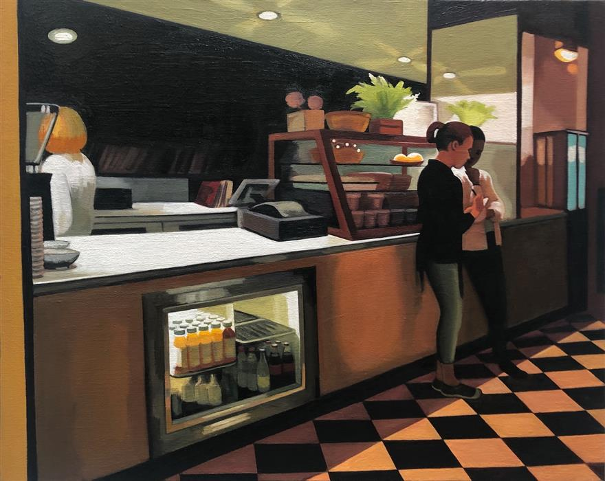 Original art for sale at UGallery.com | Downtown Cafe by Hadley Northrop | $1,200 | oil painting | 16' h x 20' w | ..\art\oil-painting-Downtown-Cafe