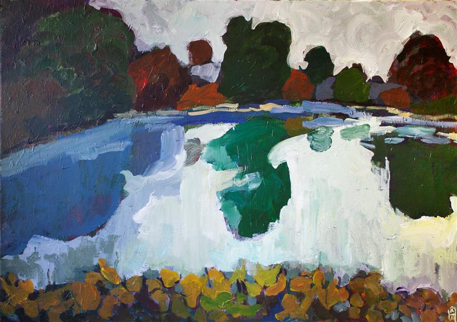 Original art for sale at UGallery.com | Pond in September by Robert Hofherr | $1,800 | acrylic painting | 24' h x 36' w | ..\art\acrylic-painting-Pond-in-September