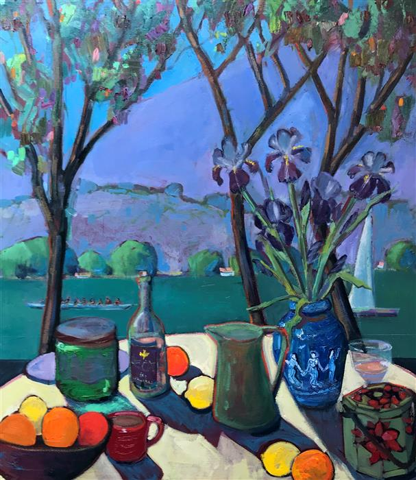Original art for sale at UGallery.com | Table on the Bay, with Irises by James Hartman | $4,675 | oil painting | 48' h x 42' w | ..\art\oil-painting-Table-on-the-Bay-with-Irises