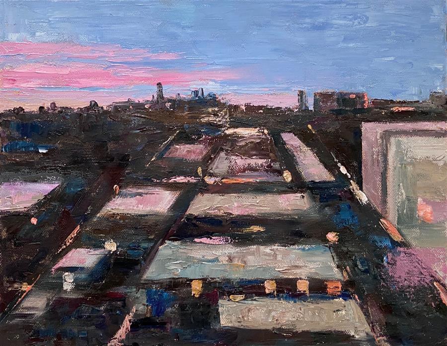Original art for sale at UGallery.com | Rear Window View by Yangzi Xu | $375 | oil painting | 11' h x 14' w | ..\art\oil-painting-Rear-Window-View