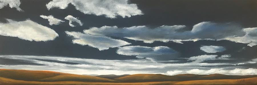 Original art for sale at UGallery.com | Silver Lining VIII by Mandy Main | $625 | oil painting | 8' h x 24' w | ..\art\oil-painting-Silver-Lining-VIII
