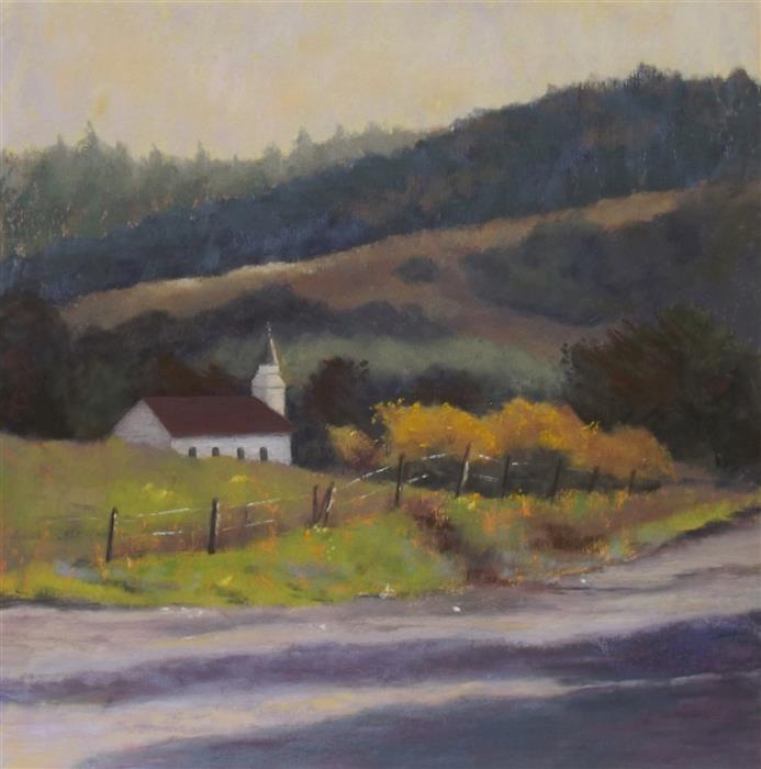 Original art for sale at UGallery.com | Little Chapel in the Valley by Patricia Prendergast | $475 | pastel artwork | 12' h x 12' w | ..\art\pastel-artwork-Little-Chapel-in-the-Valley