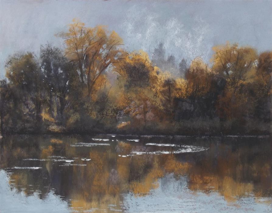 Original art for sale at UGallery.com | Last of the Morning Fog by Patricia Prendergast | $475 | pastel artwork | 11' h x 14' w | ..\art\pastel-artwork-Last-of-the-Morning-Fog