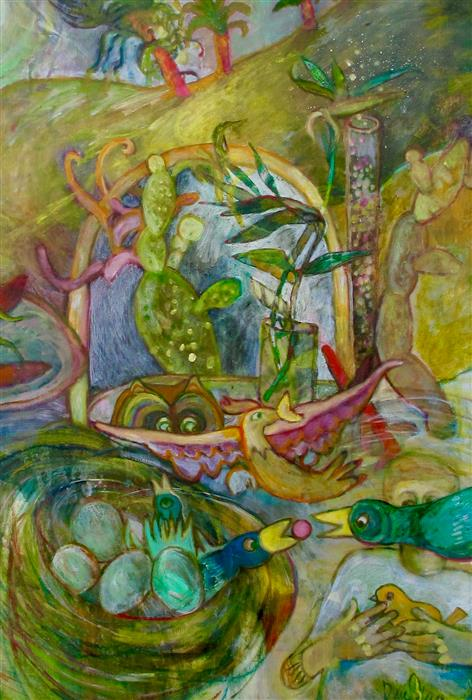 Original art for sale at UGallery.com | Birds of Paradise by Dixie Salazar | $2,575 | oil painting | 40' h x 30' w | ..\art\oil-painting-Birds-of-Paradise