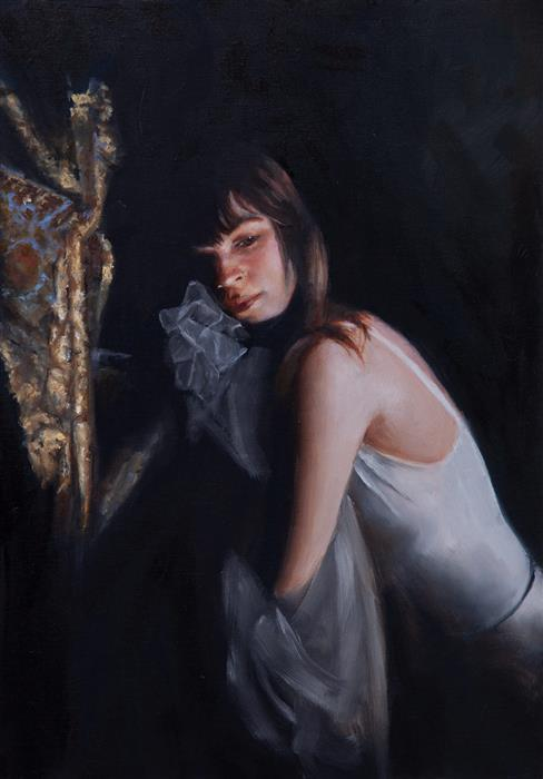 Original art for sale at UGallery.com | Portrait, Clemence by John Kelly | $2,300 | oil painting | 21.5' h x 14' w | ..\art\oil-painting-Portrait-Clemence