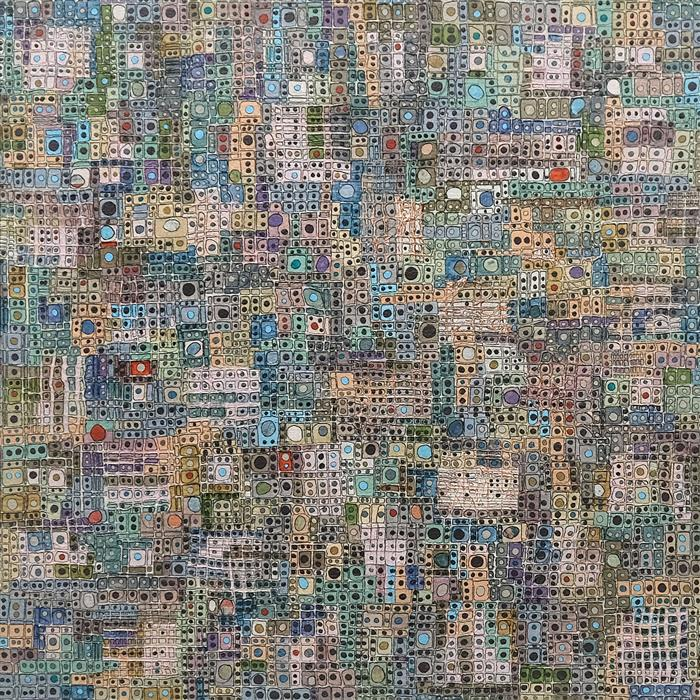 Original art for sale at UGallery.com | Reticulating Splines by Terri Bell | $1,000 | mixed media artwork | 20' h x 20' w | ..\art\mixed-media-artwork-Reticulating-Splines