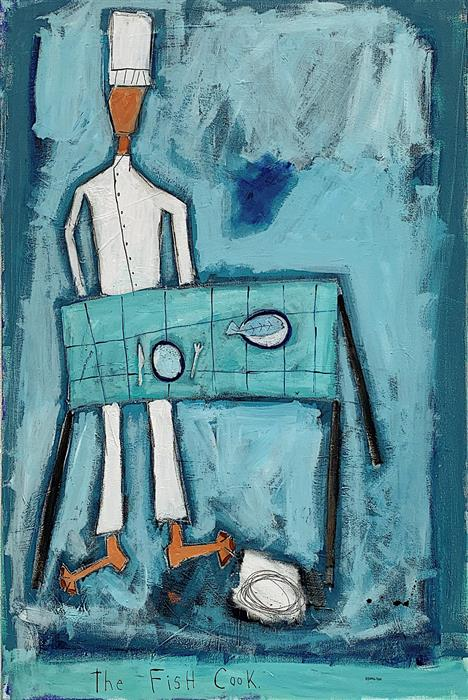 Original art for sale at UGallery.com | The Fish Cook by Rick Hamilton | $1,700 | acrylic painting | 36' h x 24' w | ..\art\acrylic-painting-The-Fish-Cook