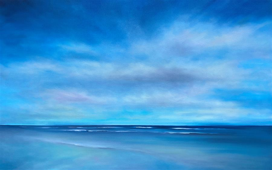 Original art for sale at UGallery.com | Blue Ocean Clouds by Nancy Hughes Miller | $2,700 | oil painting | 30' h x 48' w | ..\art\oil-painting-Blue-Ocean-Clouds