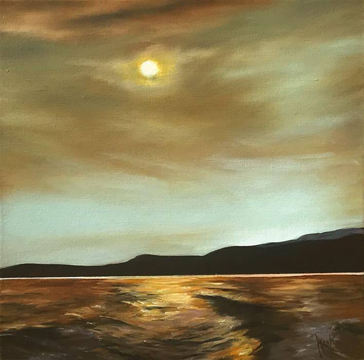 Original art for sale at UGallery.com | Copper Sunset by Mandy Main | $525 | oil painting | 12' h x 12' w | ..\art\oil-painting-Copper-Sunset