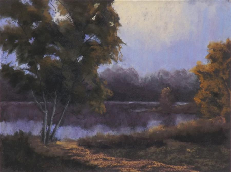 Original art for sale at UGallery.com | The Pond in Evening Light by Patricia Prendergast | $375 | pastel artwork | 9' h x 12' w | ..\art\pastel-artwork-The-Pond-in-Evening-Light