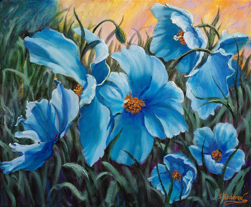 Original art for sale at UGallery.com | Blue Poppies by Stanislav Sidorov | $950 | oil painting | 20' h x 24' w | ..\art\oil-painting-Blue-Poppies-69122