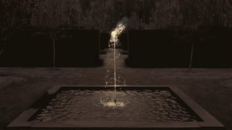 Original art for sale at UGallery.com | Fountain Fire by Curtis Radclyffe | $150 | photography | 16' h x 9' w | ..\art\photography-Fountain-Fire