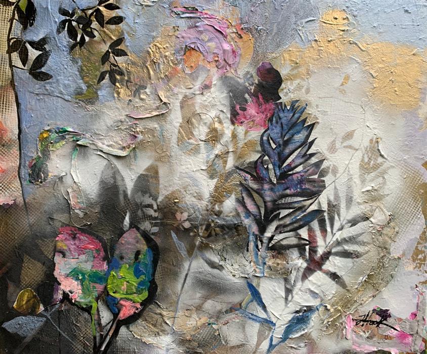 Original art for sale at UGallery.com | Treasured Time by Julia Hacker | $1,400 | mixed media artwork | 30' h x 36' w | ..\art\mixed-media-artwork-Treasured-Time