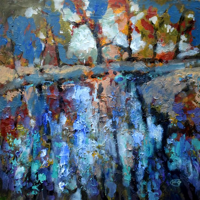 Original art for sale at UGallery.com | Blue Waters by Kip Decker | $2,100 | acrylic painting | 30' h x 30' w | ..\art\acrylic-painting-Blue-Waters