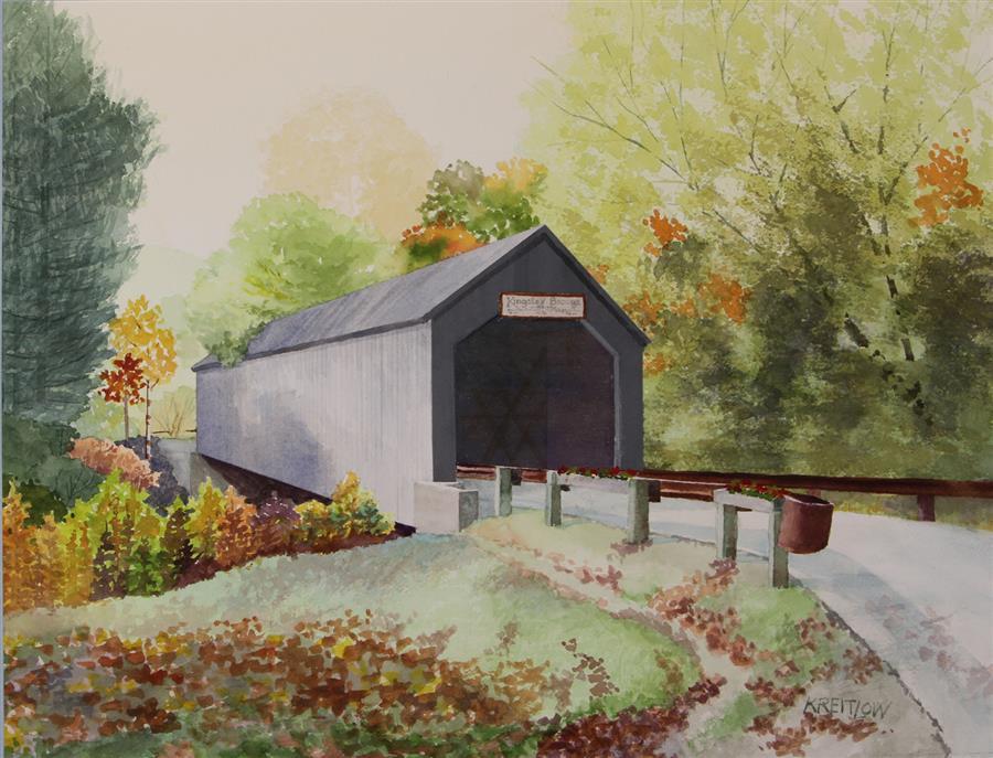 Original art for sale at UGallery.com | Kingsley Bridge by Bill Kreitlow | $700 | watercolor painting | 16.25' h x 21.25' w | ..\art\watercolor-painting-Kingsley-Bridge