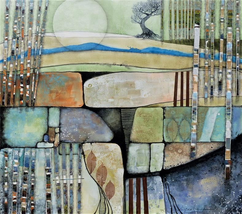 Original art for sale at UGallery.com | Collective Solitude by Linda Klein | $3,300 | mixed media artwork | 40' h x 45' w | ..\art\mixed-media-artwork-Collective-Solitude