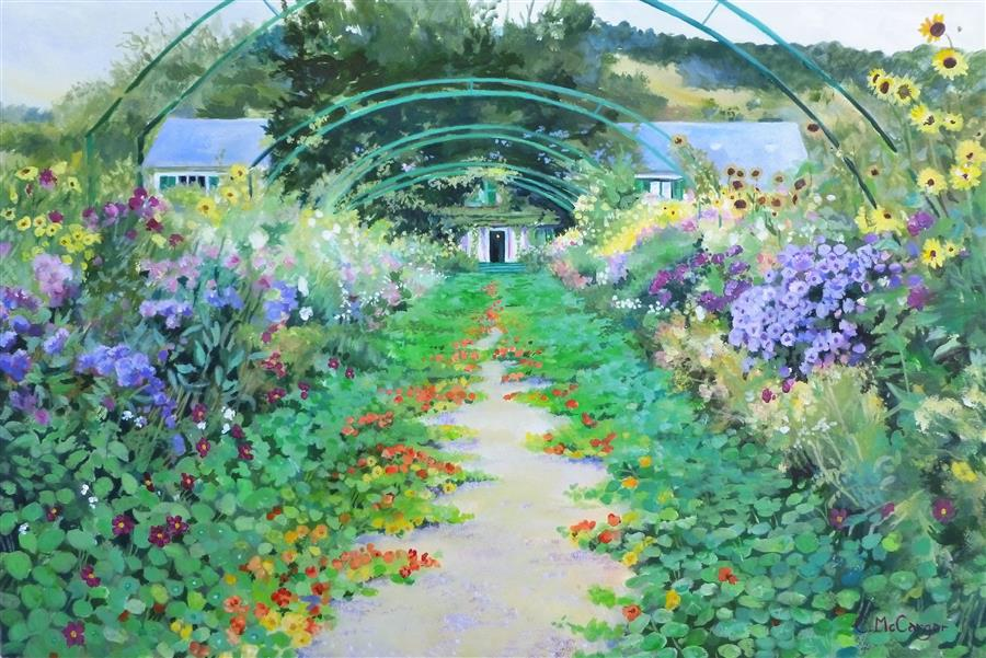 Original art for sale at UGallery.com | Arched Pathway in Monet's Garden, Giverny by Catherine McCargar | $1,325 | acrylic painting | 15' h x 22' w | ..\art\acrylic-painting-Arched-Pathway-in-Monet-s-Garden-Giverny