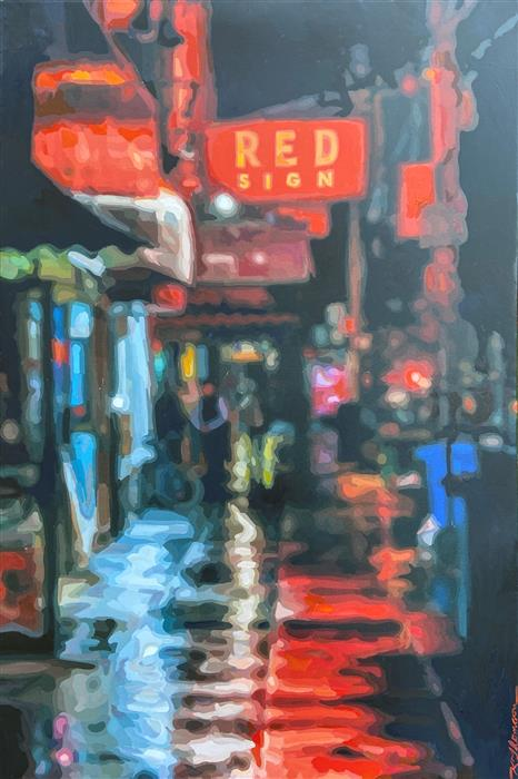 Original art for sale at UGallery.com | Red Sign by Keith Thomson | $1,600 | mixed media artwork | 24' h x 36' w | ..\art\mixed-media-artwork-Red-Sign