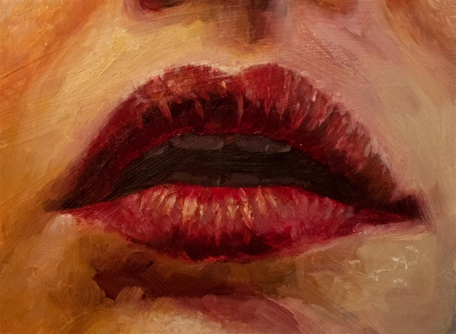 Original art for sale at UGallery.com | Red Lips by Shaina Craft | $425 | oil painting | 5' h x 7' w | ..\art\oil-painting-Red-Lips