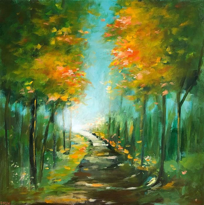 Original art for sale at UGallery.com | Candy Corn Woods by Drew Noel Marin | $2,000 | acrylic painting | 30' h x 30' w | ..\art\acrylic-painting-Candy-Corn-Woods