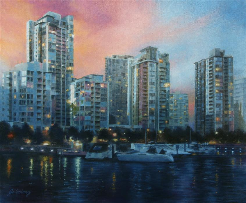 Original art for sale at UGallery.com | Twilight on False Creek by Jo Galang | $1,100 | oil painting | 20' h x 24' w | ..\art\oil-painting-Twilight-on-False-Creek