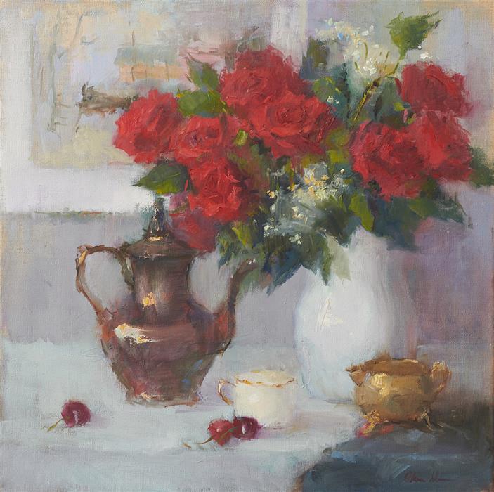 Original art for sale at UGallery.com   Roses for Her by Oksana Johnson   $1,450   oil painting   20' h x 20' w   ..\art\oil-painting-Roses-for-Her-69264