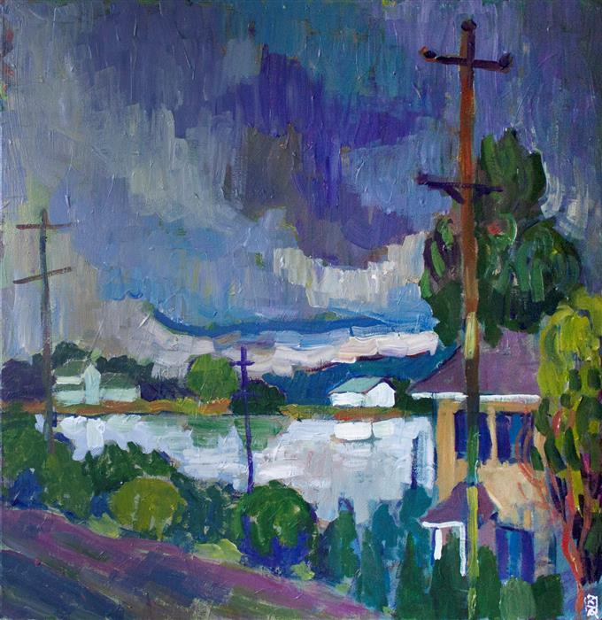 Original art for sale at UGallery.com | Storm over C&D Canal by Robert Hofherr | $1,400 | acrylic painting | 24' h x 24' w | ..\art\acrylic-painting-Storm-over-C-D-Canal