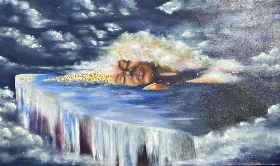 Original art for sale at UGallery.com | Drifting by Asha Hanna | $3,675 | acrylic painting | 30' h x 50' w | ..\art\acrylic-painting-Drifting-69289