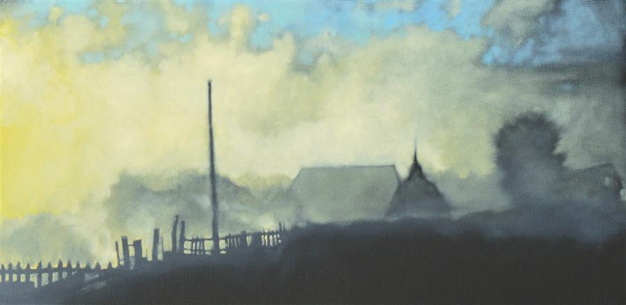 Original art for sale at UGallery.com   Early Morning Fog by David Thelen   $500   oil painting   12' h x 24' w   ..\art\oil-painting-Early-Morning-Fog