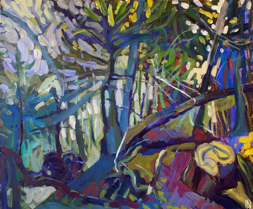 Original art for sale at UGallery.com | Forest with Fallen Tree by Robert Hofherr | $1,525 | acrylic painting | 24' h x 30' w | ..\art\acrylic-painting-Forest-with-Fallen-Tree
