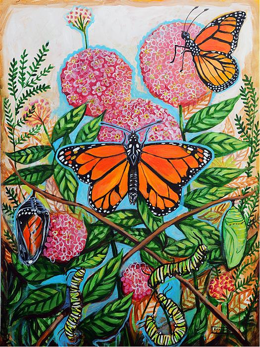 Original art for sale at UGallery.com | Monarchs and Milkweed by Kira Yustak | $1,875 | acrylic painting | 40' h x 30' w | ..\art\acrylic-painting-Monarchs-and-Milkweed