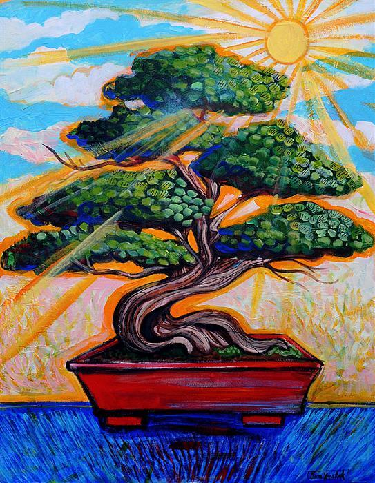 Original art for sale at UGallery.com | Morning Sun Bonsai by Kira Yustak | $975 | acrylic painting | 28' h x 22' w | ..\art\acrylic-painting-Morning-Sun-Bonsai