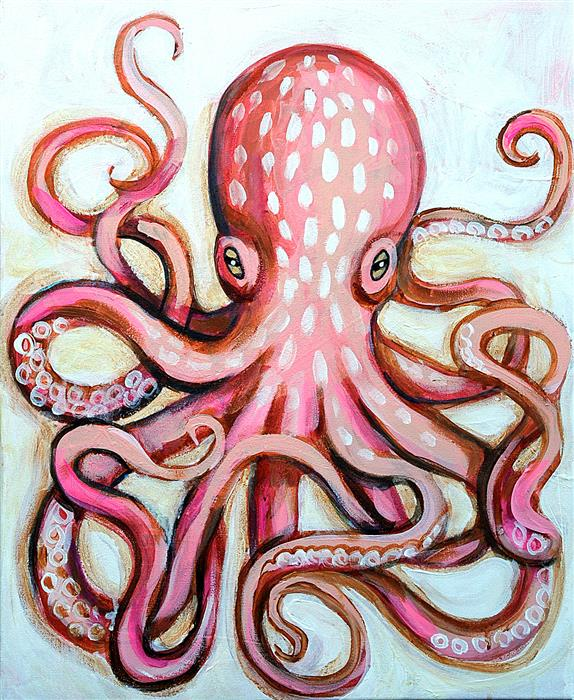Original art for sale at UGallery.com | Pale Octopus by Kira Yustak | $750 | acrylic painting | 20' h x 16' w | ..\art\acrylic-painting-Pale-Octopus