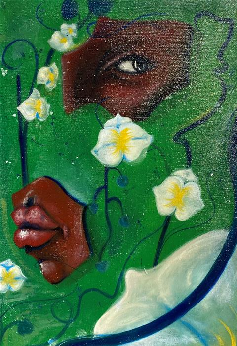 Original art for sale at UGallery.com | Green Orchid by Asha Hanna | $475 | acrylic painting | 17.5' h x 11.5' w | ..\art\acrylic-painting-Green-Orchid