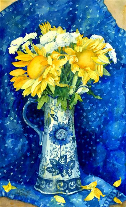 Original art for sale at UGallery.com | Sunflowers and Half Moons by Nancy LaBerge Muren | $700 | watercolor painting | 20' h x 12' w | ..\art\watercolor-painting-Sunflowers-and-Half-Moons