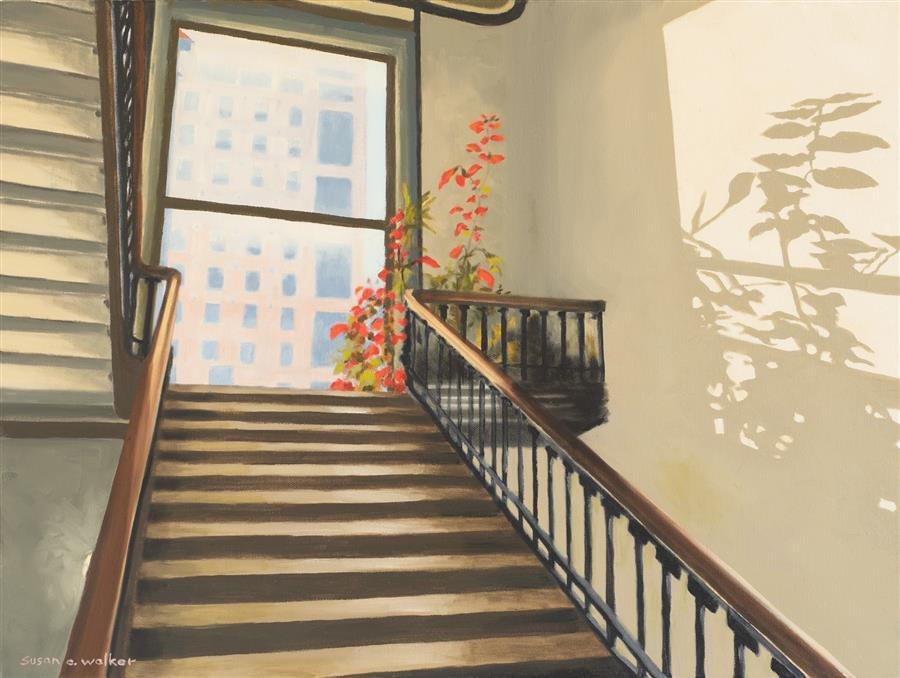 Original art for sale at UGallery.com | The Stairway by Susan Walker | $900 | oil painting | 18' h x 24' w | ..\art\oil-painting-The-Stairway