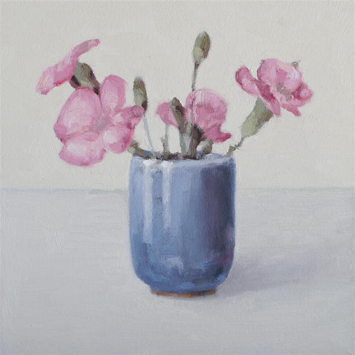 Original art for sale at UGallery.com | Fresh Pink Bouquet by Nicole Lamothe | $225 | oil painting | 8' h x 8' w | ..\art\oil-painting-Fresh-Pink-Bouquet