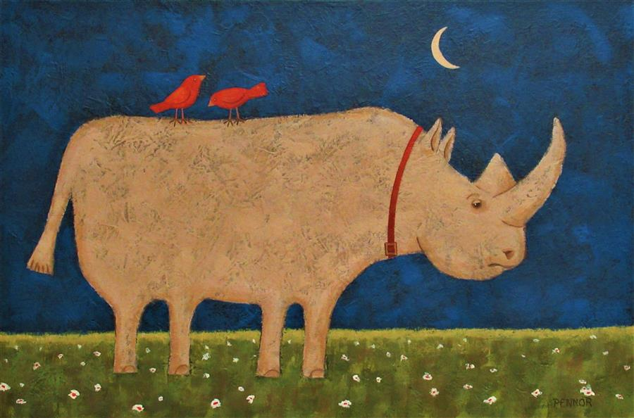 Original art for sale at UGallery.com | Gentle Giant by Carolyn Pennor | $1,400 | acrylic painting | 24' h x 36' w | ..\art\acrylic-painting-Gentle-Giant