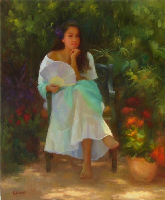 Original art for sale at UGallery.com | Alana with Fan by Sherri Aldawood | $2,050 | oil painting | 24' h x 20' w | ..\art\oil-painting-Alana-with-Fan