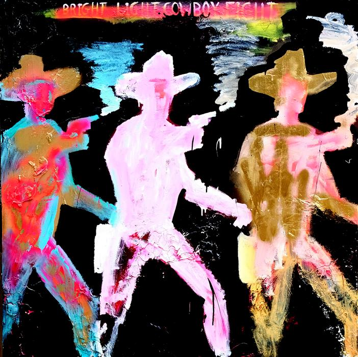 Original art for sale at UGallery.com | Bright Light Cowboy Fight by Scott Dykema | $5,400 | mixed media artwork | 48' h x 48' w | ..\art\mixed-media-artwork-Bright-Light-Cowboy-Fight