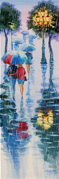 Original art for sale at UGallery.com | Alley under the Rain by Stanislav Sidorov | $875 | oil painting | 30' h x 10' w | ..\art\oil-painting-Alley-under-the-Rain