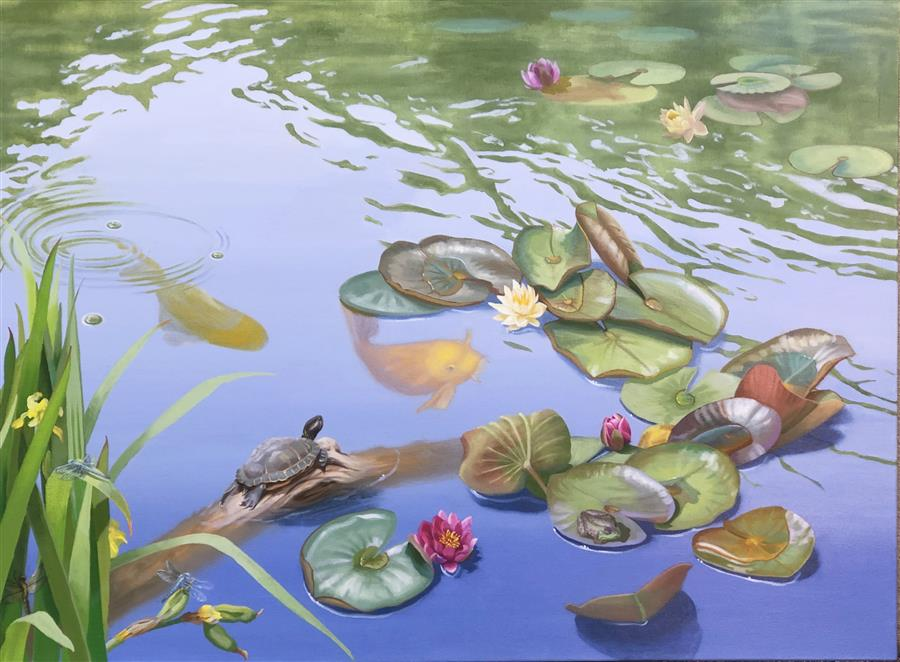 Original art for sale at UGallery.com | Teeming with Life by Elizabeth Rickert | $3,800 | oil painting | 36' h x 48' w | ..\art\oil-painting-Teeming-with-Life